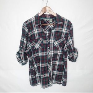 L.L Bean Flannel with roll tab sleeves